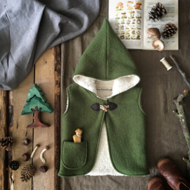Wool Hooded Vest Moss Green