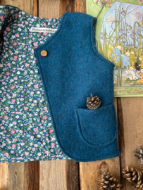Wool vest Ocean Blue - Little Flowers Blue 98/104