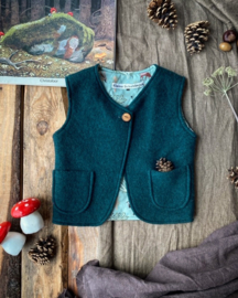Wool Vest Dark Green Forest Animals Size 74/80