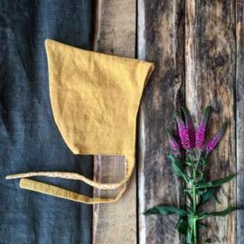 Linen Pixiehat Ochre Flowers  Size 5