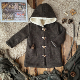 Wool Winter Coat Round Hood Earth Tones