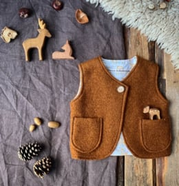 Wool Vest Brown Little Deer Size 122/128