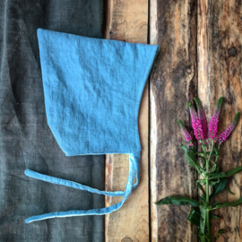 Linen Pixiehat Blue Flowers Size 4