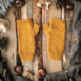 Wool Wrist Warmers Ocher Yellow