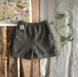 Stone Washed Linen Short Dark Olive