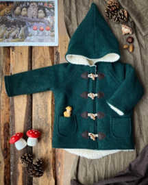 Wool Winter Coat Forest Green 86/92