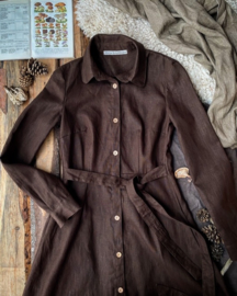 Long-sleeved Dress Dark Brown