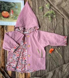 Linen Jacket Vintage Pink Flowers