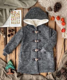 Wool Winter Coat Round Hood & Knitted Cuffs  - Grey
