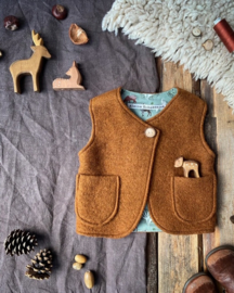 Wool Vest Brown Forest Animals Size 122/128