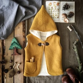 Wool Hooded Vest Ochre Yellow