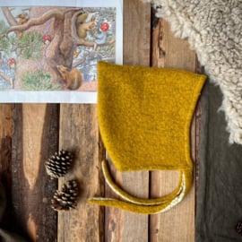 Wool Pixie Hat Ochre Flowers Size 4
