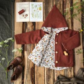 Linen Jacket Terracotta Flowers