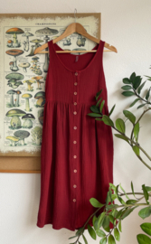 Spring / Summer Dress Double Gauze Wine Red