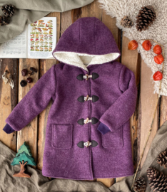 Wool Winter Coat Round Hood & Knitted Cuffs  -Mauve