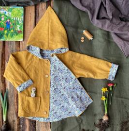 Linen Jacket Ochre Yellow Flowers