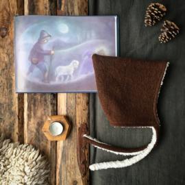 Wool Pixie Hat Dark Brown