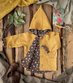 Linen Jacket Ochre - Retro Flowers Brown