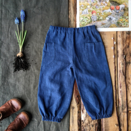 Stone Washed Linen Trousers Blue