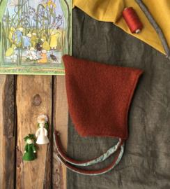 100% Wool Pixie Hat Terracotta Forest Animals Size 4