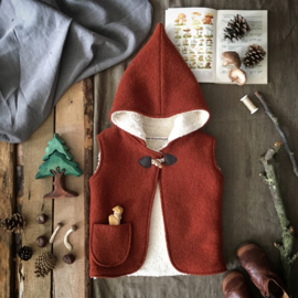 Wool Hooded Vest Terracotta