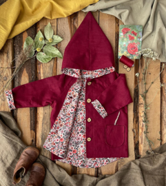 Linen Jacket Plum- Watercolor Flowers