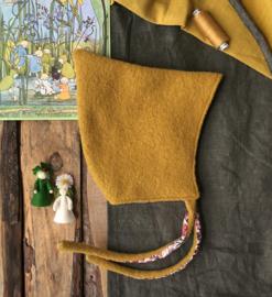 100% Wool Pixie Hat Ochre Watercolor Flowers Size 4