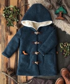 Wool Winter Coat Round Hood Misty Blue