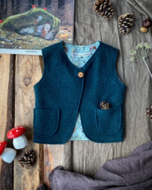 Wool Vest Dark Green Forest Animals Size 86/92