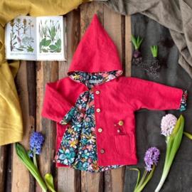 Linen Jacket Red - Flowers