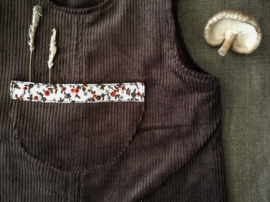 Jumpsuit Corduroy Brown Flowers 86/92