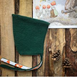 Wool Pixie Hat Dark Green Foxes Size 2