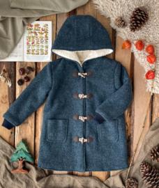 Wool Winter Coat Round Hood & Knitted Cuffs  - Misty Blue