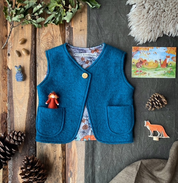 Wool vest Ocean Blue - Fox & Owl 74/80