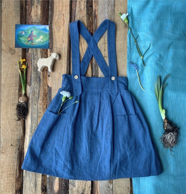 Apron Dress Stone Washed Linen Blueberry