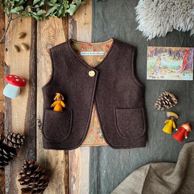 Wool Vest Dark Brown - Squirrel Size 110/116