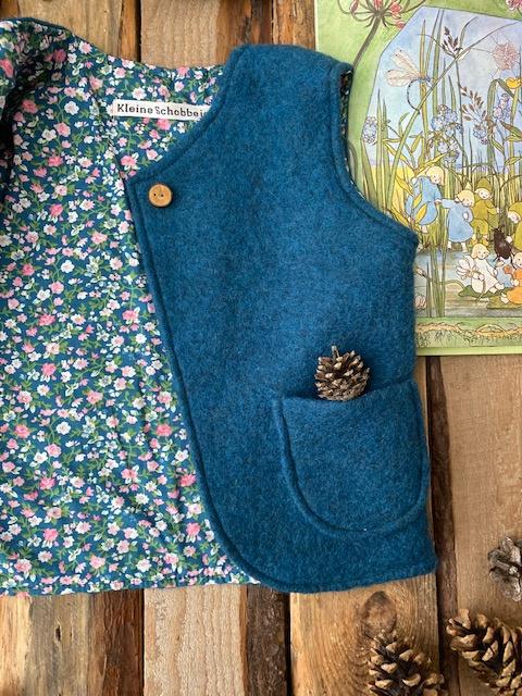 Wool vest Ocean Blue - Little Flowers Blue 74/80