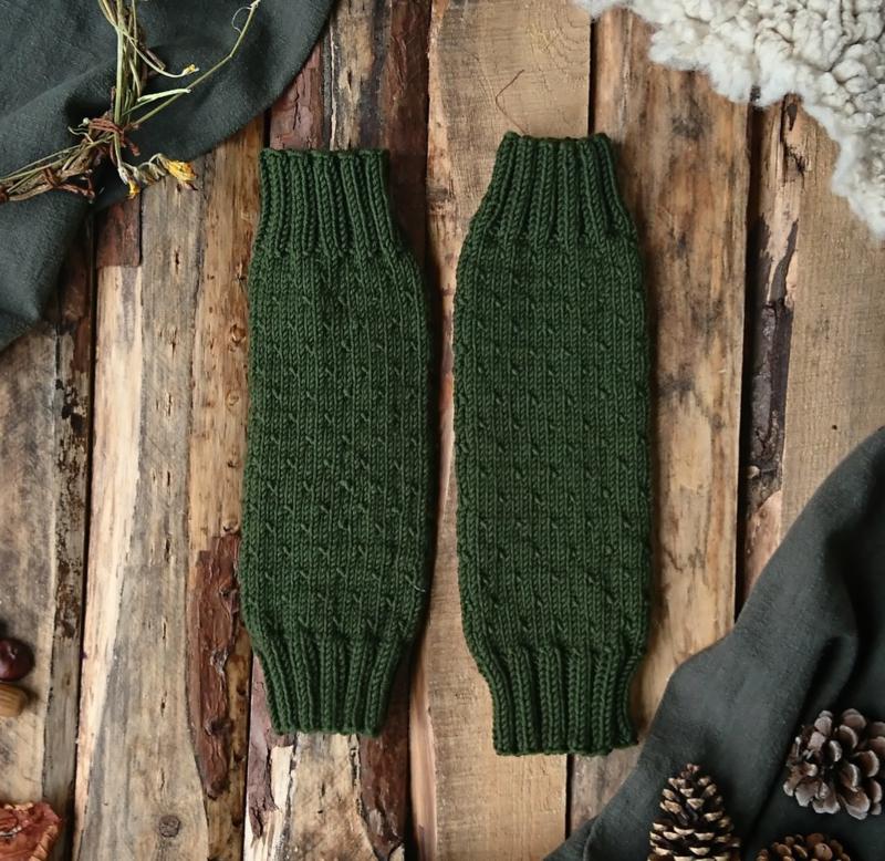 Wool Leg Warmers Mossgreen