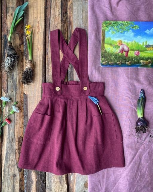 Apron Dress Stone Washed Linen Plum