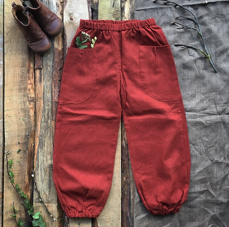 Stone Washed Linen Trousers Terracotta size 140/146