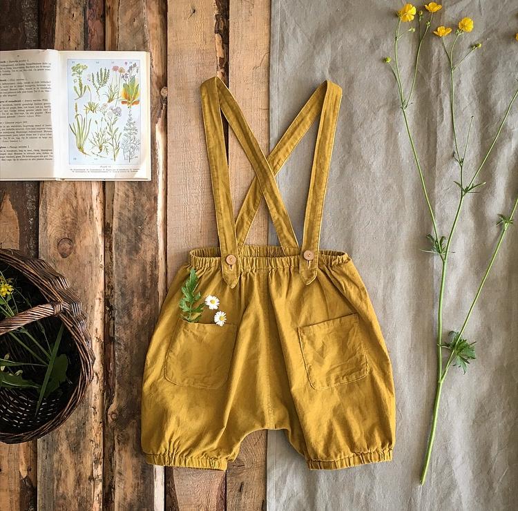 Suspender Shorts Ochre Yellow