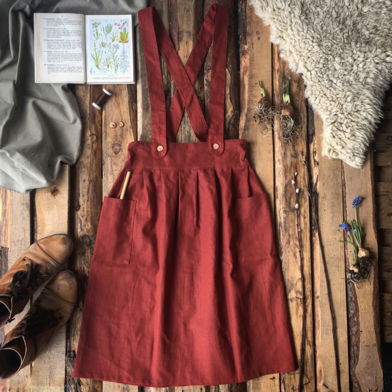 Apron Dress Women Terracotta