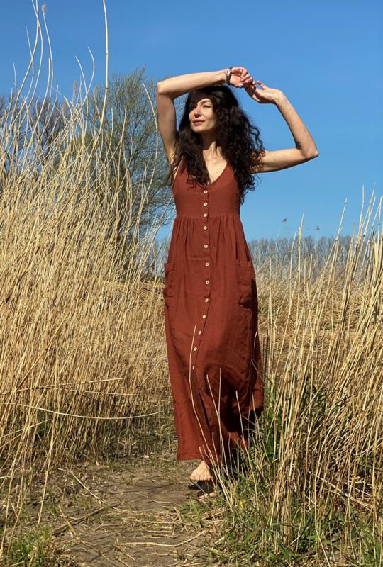 Maxi Dress Linen Terracotta