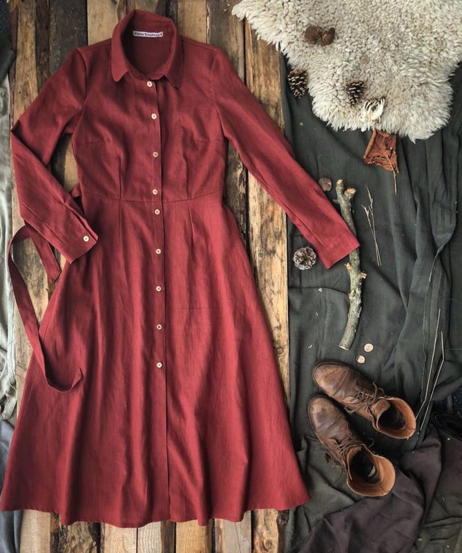 Long-sleeved Dress Terracotta