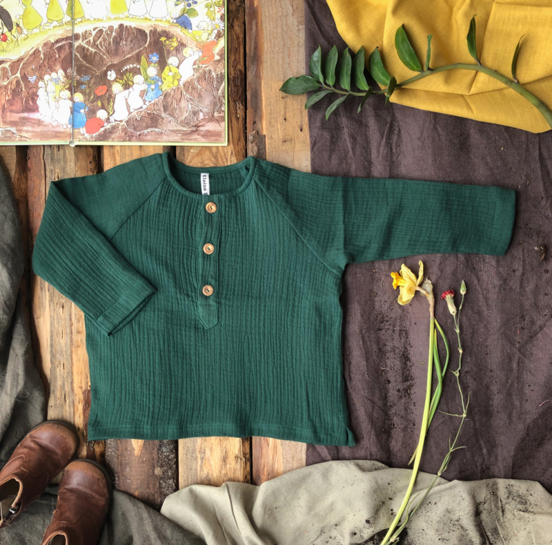 Double Gauze Top Long Sleeve Forest Green