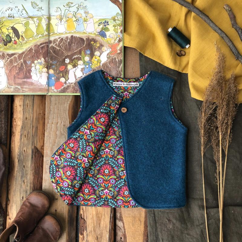 Wool vest Ocean Blue Retro 74/80