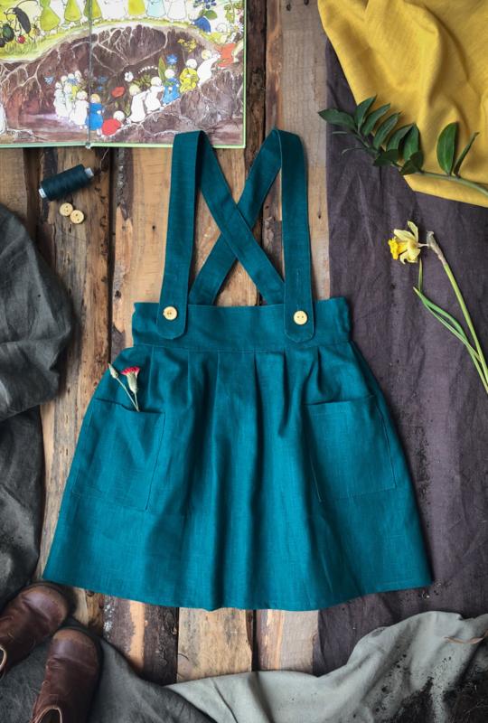 Apron Dress Linen Ocean Green