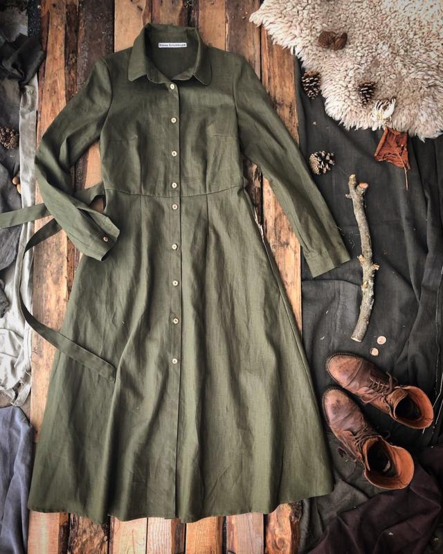 Long-sleeved Dress Moss Green