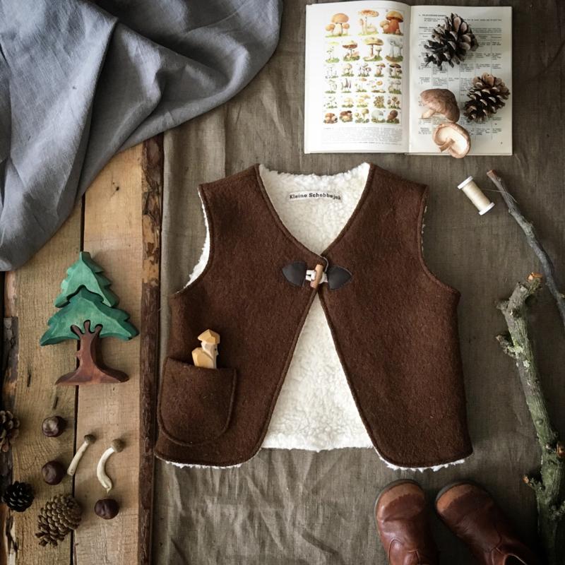 Wool Vest Winter Dark Brown