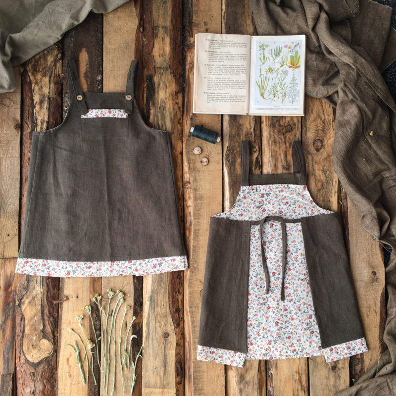 Apron Dress Wildflower - Dark Olive